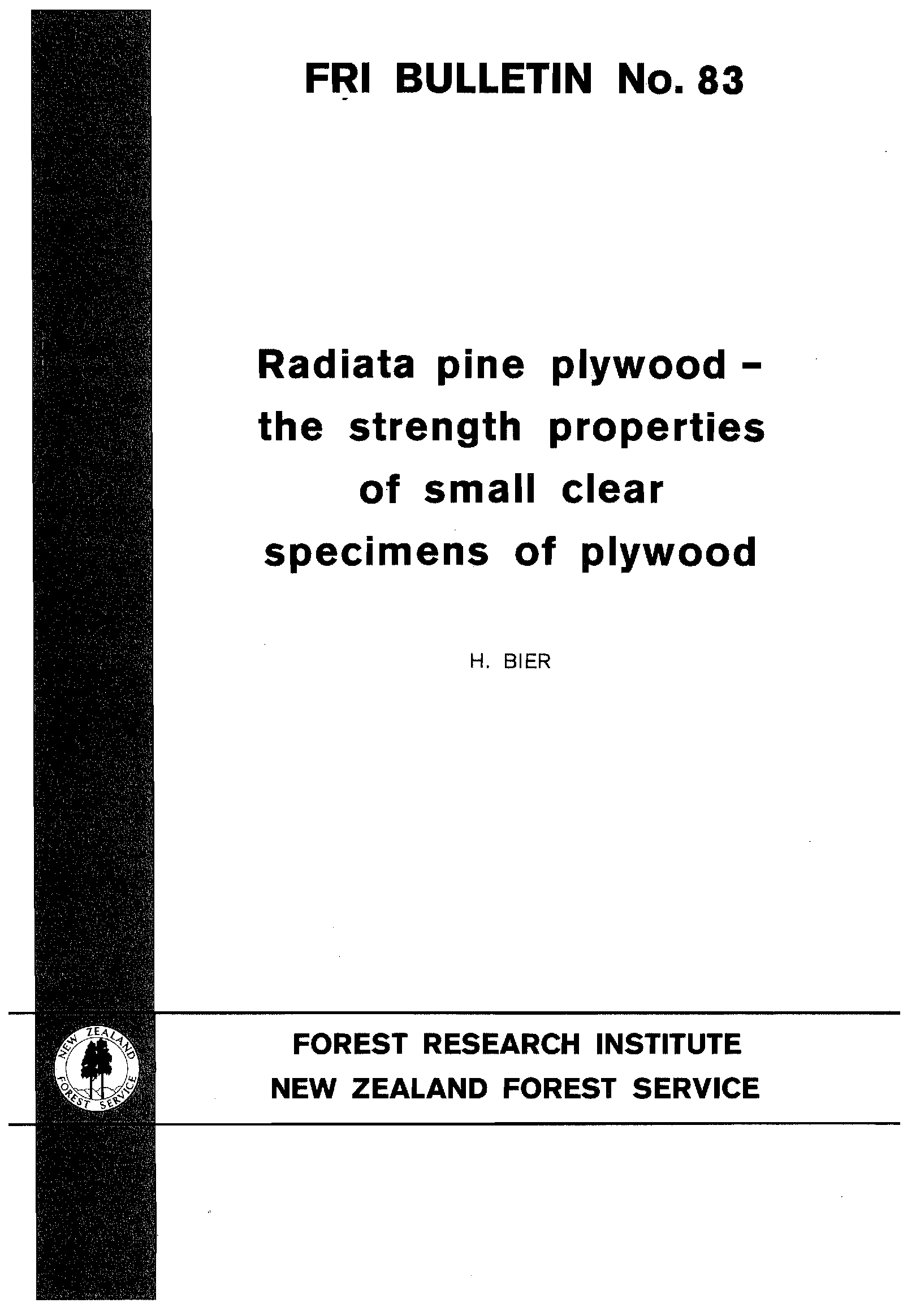 Radiata pine plywood - the strength properties of small clear